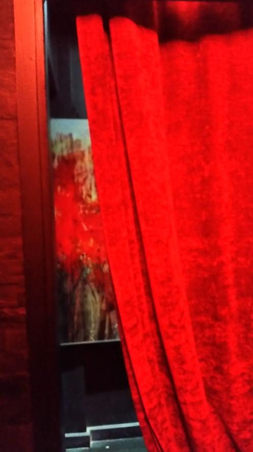 Velvet curtain in elevator waiting area
