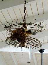 Birds nest in the light fixture